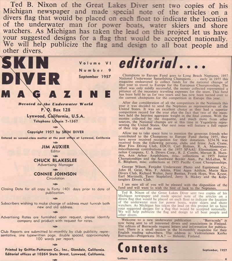 Skin Diver magazine mentions dive flag